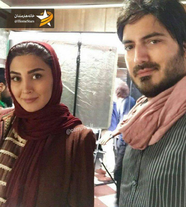 نيما شاهرخ شاهی و مريم معصومی در پشت صحنه سريال نفس شيرين